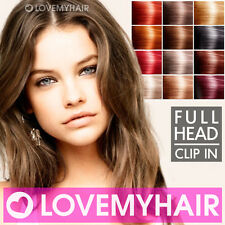 Clip in Human Hair Extensions Full Head : Many Colours