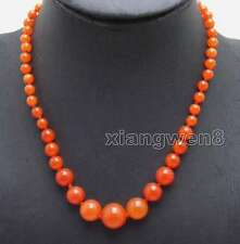"""SALE 6-14mm China red Round Natural High Quality jade 17"""" necklace - nec6052"""