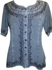 109 B Agan Traders Gypsy Medieval Renaissance Embroidered Top Blouse