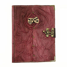 Happy Sad Face Purple Large Handmade Leather Journal Diary Sketchbook Notebook