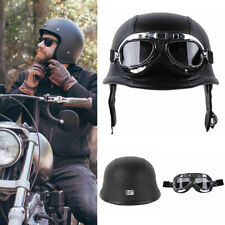 Black DOT German Style Padded Motorcycle Bike Flight Half Helmet with Goggles