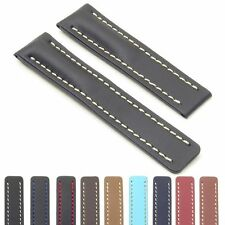DASSARI Capital Smooth Leather Watch Band Strap for BREITLING Deploymant Clasp