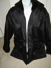 New Andrew Marc Jacket/Coat Hood Blk Woman Faux Fur inside polyester out, Sz M