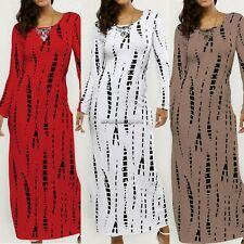 Fashion Women O-Neck Long Sleeve Back Slit Print Slim Fit Maxi Long Dress NC89