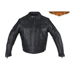 Mens Motorcycle Racer Naked Cowhide Black Leather Jacket With Multi-Pockets