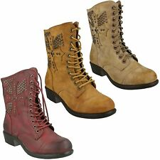 SALE LADIES SPOT ON MID CALF LOW HEEL LACE UP / ZIP ANKLE BOOTS F50171 £9.99