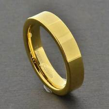 Tungsten Shiny Flat Top Gold EP Band Women's Wedding/Engagement Ring