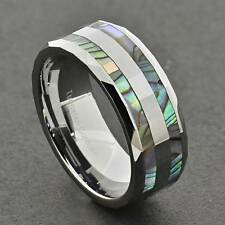 8mm Abalone Shell Inlay Faceted Shiny Top Tungsten Men's Wedding Band