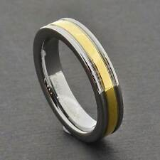 6mm Tungsten Carbide Band Grooved w/Gold EP Center Strip Womens Wedding Ring