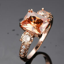 Champagne Topaz Women's 10Kt Rose Gold Filled Engagement Wedding Ring Size 6-9