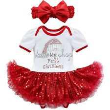 My First Christmas Baby Girls Romper Tutu Dress Headband Xmas Sequins Outfit Set