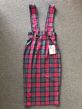 Vivien of Holloway high waisted pencil pinafore skirt red tartan pinup vintage