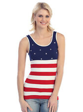 Patriotic July 4 American Flag Red White Blue Seamless Tank Top Shirt One Size