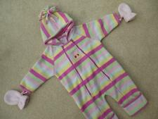 JOJO MAMAN BEBE Stripy Polartec Fleece All-in-One & Mittens  3-6m SNOWSUIT