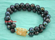 "7.5-8"" Classic 2 strand 8-9mm Real Natural South sea black round pearl bracelet"