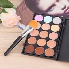 New 15 Colors Contour Face Cream Makeup Concealer Palette Sponge Powder Brush CC