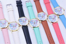 New Elephant Faux Leather Women's Pattern Quartz Analog Wrist Watch Band
