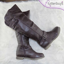 Dark Brown Womans Knee High Riding Boots Flat Chocolate Brown Soft lining Sizes