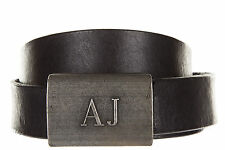Armani Jeans Mens Genuine Leather New Placca Black Belt All Sizes