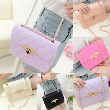 Women Vintage Leather Quilted Chain Satchel Crossbody Shoulder Bag Handbag Purse
