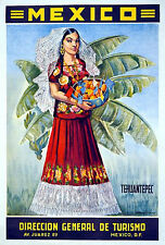 Tourism Mexican Girl Bowl Of Fruit Old Travel Poster 18x24 24x36 NEW! Vintage