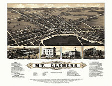 Old Map Mt. Clemens Michigan 1881 Macomb County 18x24 24x36 36x54 Poster NEW