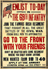 WWI Poster Repro Enlist In 69th Infantry Join Famous Irish Regiment 18x24 24x36
