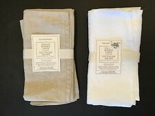 WILLIAMS SONOMA ITALIAN WASHED LINEN NAPKINS Set of 4 NEW White or Oatmeal Color
