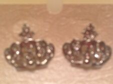 "1"" Clear Crystal in Silver Plated or Gold Plated Crown Pierced Earrings"