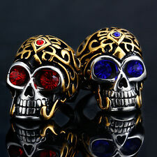 316L Stainless Steel Skull Crystal Eyes Biker Men Finger Ring Vintage Size 7-11