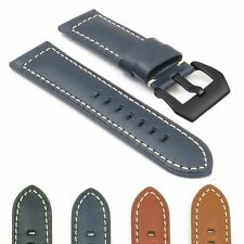 DASSARI Monaco Leather Watch Band Strap for Panerai w Matte Black Pre-V-Buckle