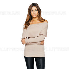 Off The Shoulder Bardot Top Ribbed Long Sleeve Clubbing womens Ladies Size New ❤