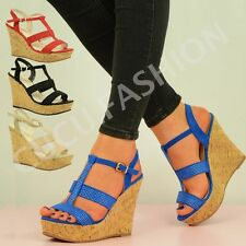NEW WOMENS HIGH HEEL WEDGES LADIES STUDDED ANKLE SANDALS SHOES SIZE UK 3-8