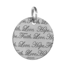 "Sterling Silver ""FAITH LOVE HOPE"" Round Pendant / Charm, 18"" Italian Box Chain"