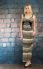 PRETTY YOUNG THING Brown Shoulder Strap Zigzag Print Maxi Long Dress