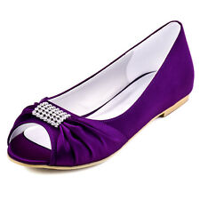 EP2053 Purple Peep Toe Ballet Flats Rhinestone Ruched Satin Wedding Party Shoes