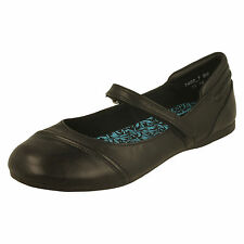 SALE Angry Angels 'Passion' Black Leather Slip On Ballerina School Shoes M fit