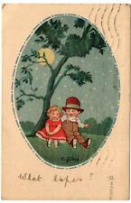 1921 Two Child Sweethearts Under a Tree Postcard
