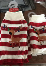 Christmas Reindeer Pet Puppy Cat Dog Sweater Striped Knit Crocheted Coat Clothes