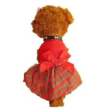 Cute Puppy Plaid Bow Apparel Red Dress Clothes Pet Dog Skirt Christmas Party