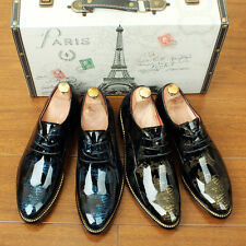 Mens dress shoes patent leather pointed toe European lace-up brogues shoes size.