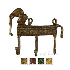 "LARGE SELECTION - 5"" BRASS ELEPHANT DECORATIVE WALL HOOK HANGER COAT RACK Bronze"