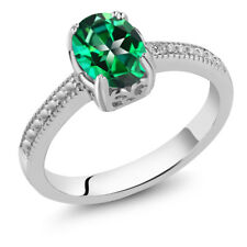 1.33 Ct 925 Sterling Silver Ring Made With Oval Rainforest Swarovski Topaz