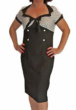 Vintage 1950s Style Retro Rockabilly Wiggle Pencil Dress with Spotty Top