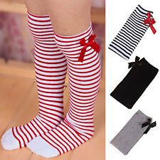 Girls Long Knee Socks Children Baby Toddler Bowknot Striped Leg Warmers Nobby