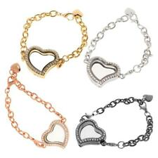 Fashion Crystal Rhinestone Love Heart Chain Bracelet Bangle