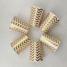 Paper Party Cups Gold/Silver Foil Chevron Disposable 9oz Birthday Party Decor