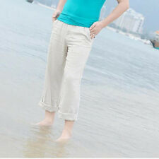 Men Beach Pants Slacks Trousers Sweatpants Cotton Linen Loose Fit Pants New TY