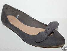 Gap NWT Women's 6 7 8 Faux Suede Gray Ballet Flats Shoes w/ Knot Bow at Toe