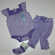 baby Gap NWT Girl's 0 3 Mo Outfit Set Striped Knit Romper & Terry Pants + Socks